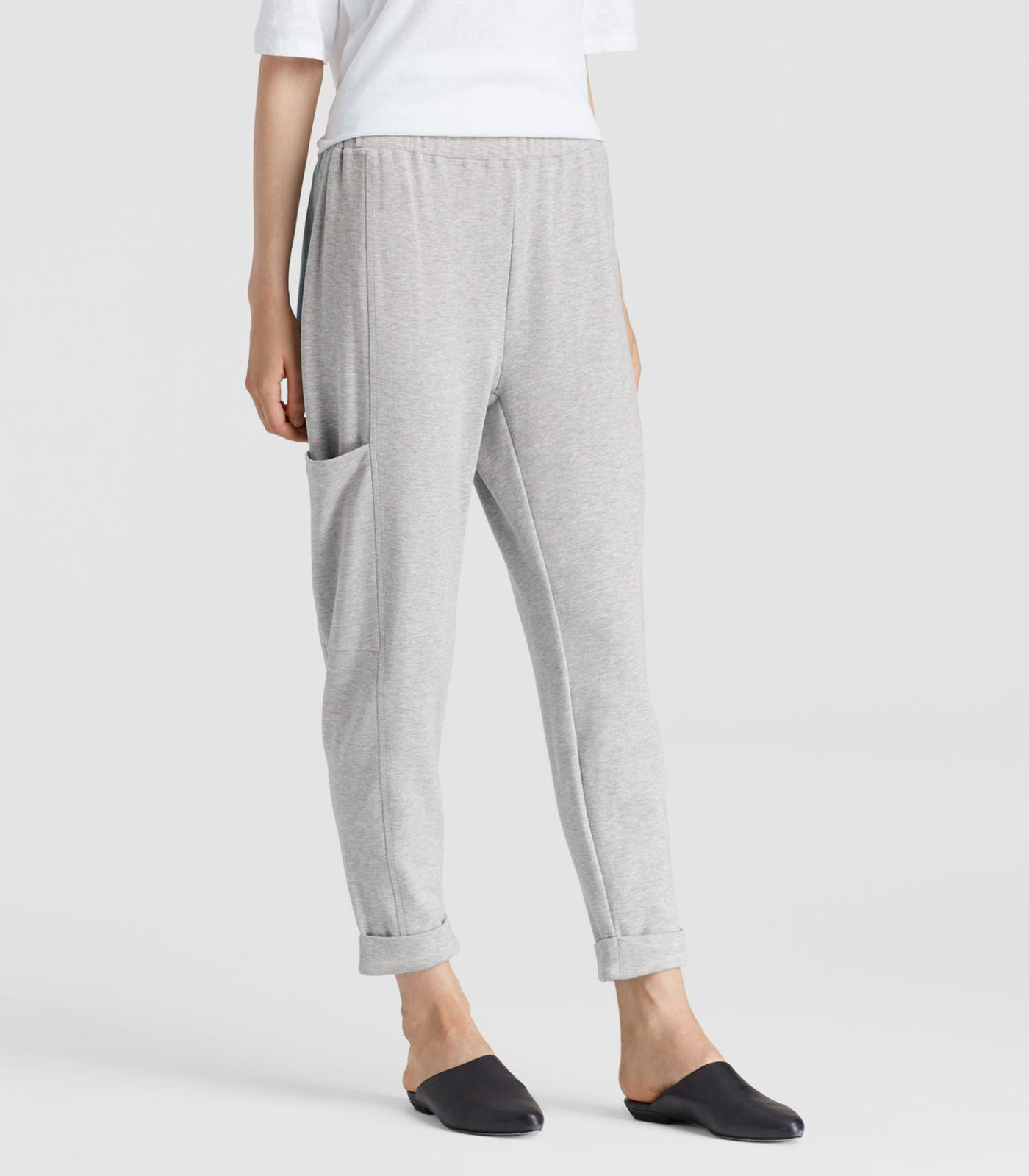 d06a77b433 Eileen Fisher - Gray Organic Cotton Fleece Slouchy Pants - Lyst. View  fullscreen