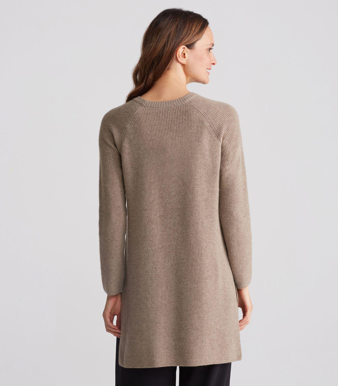e9e78c95ca0 Eileen Fisher Italian Undyed Cashmere High-slit Tunic in Brown - Lyst