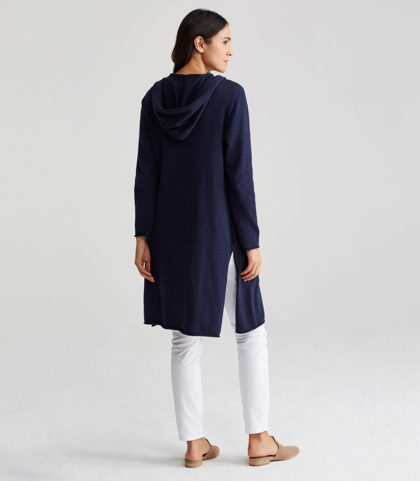 Lyst - Eileen Fisher Peruvian Organic Cotton Hooded Long Cardigan in ... a591584c7