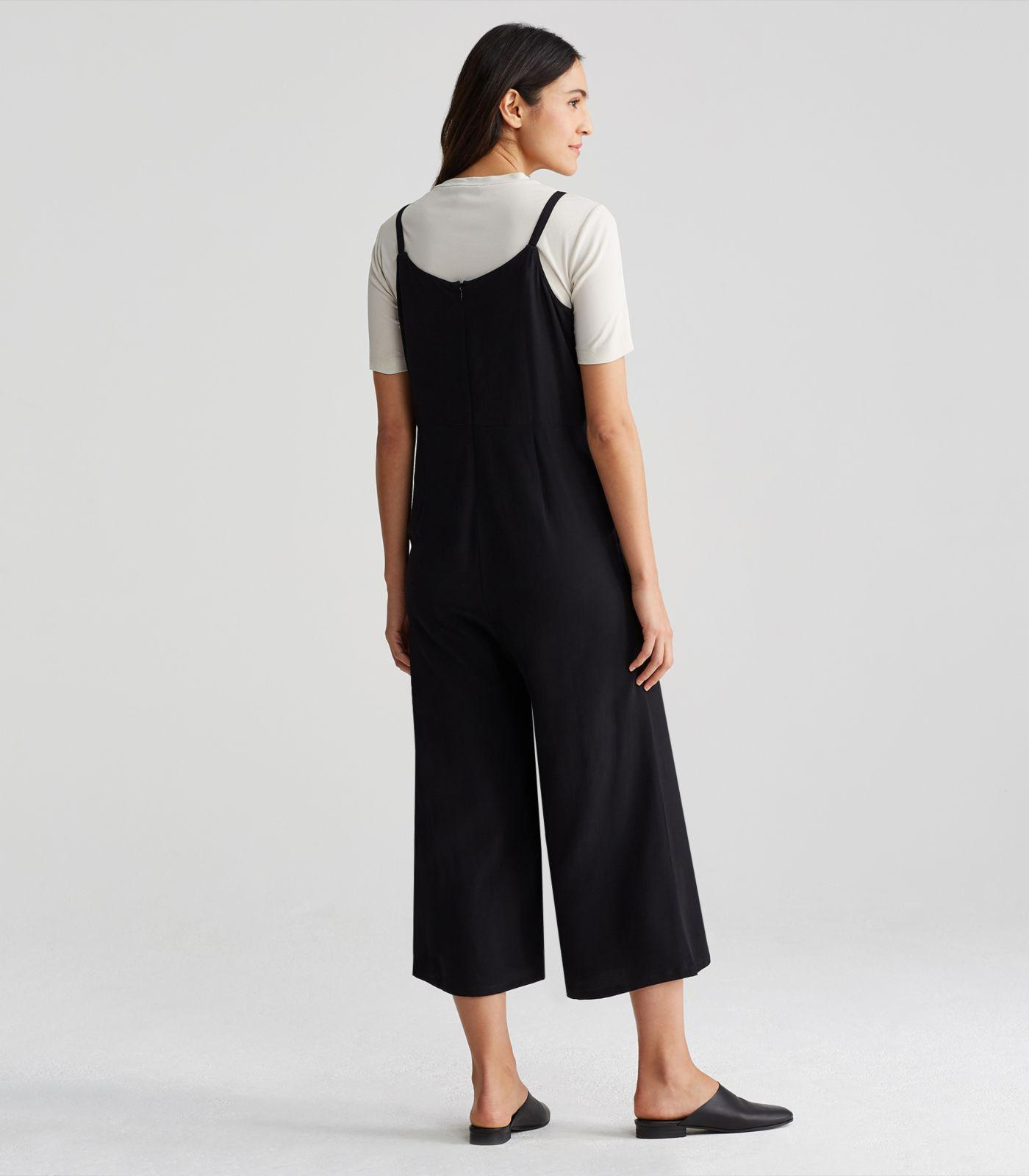 7716bd23d17 Lyst - Eileen Fisher Viscose Crepe Cropped Cami Jumpsuit in Black