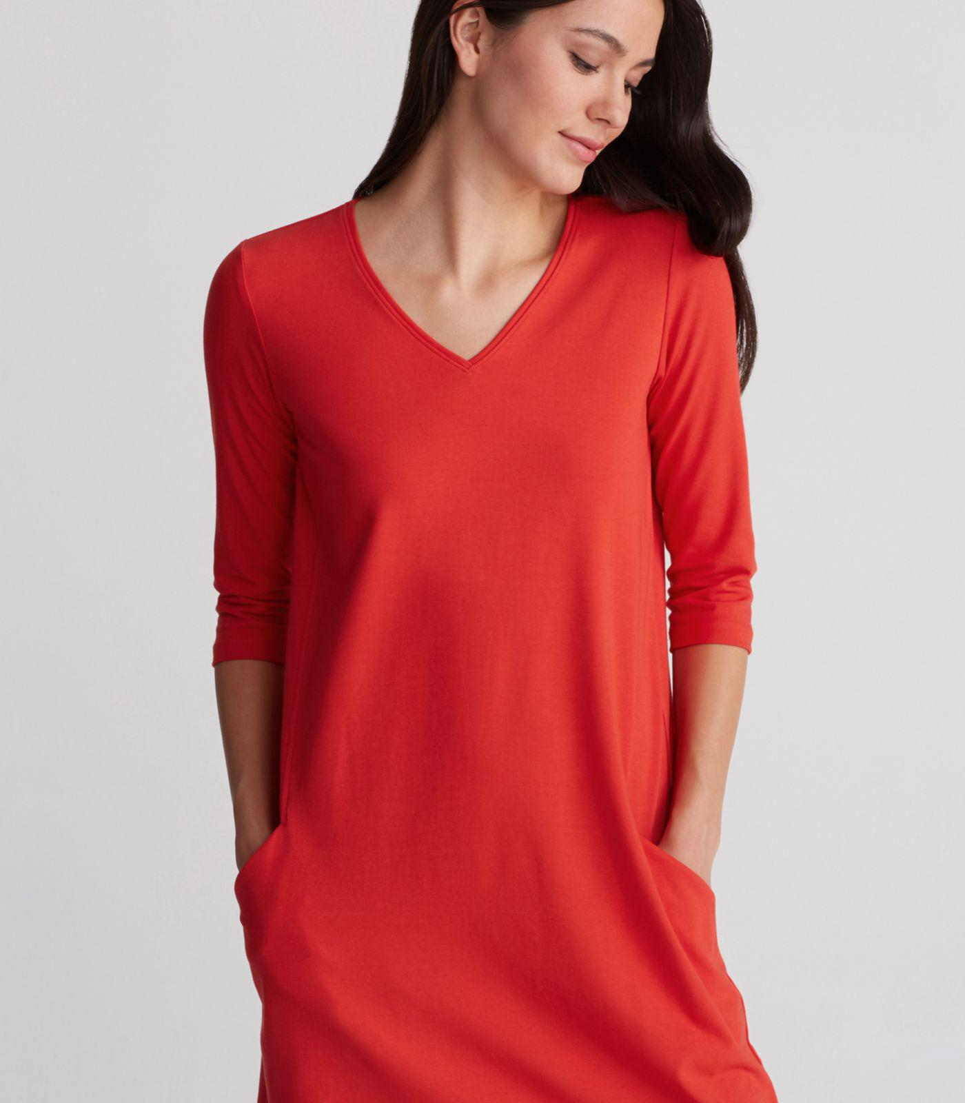 f2cde3a25c078 Eileen Fisher Organic Cotton Stretch Jersey V-neck A-line Dress in ...