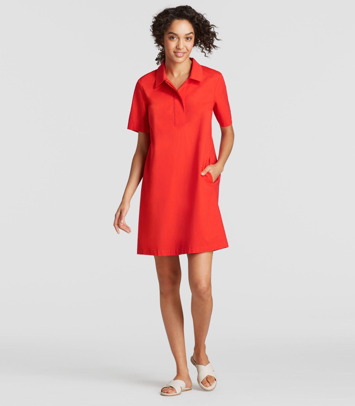 59beca4a757 Lyst - Eileen Fisher Plus Size Organic Cotton Poplin Shirt Dress in Red