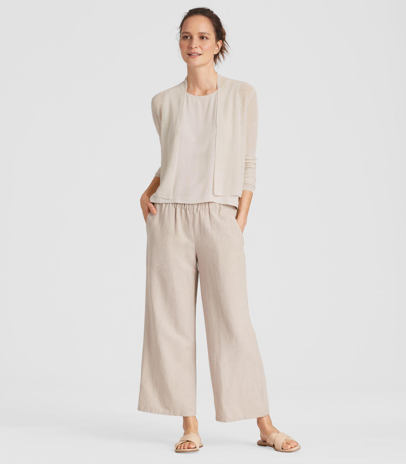 5210f32453d Eileen Fisher Organic Linen Crepe Knit Cropped Cardigan in Natural ...