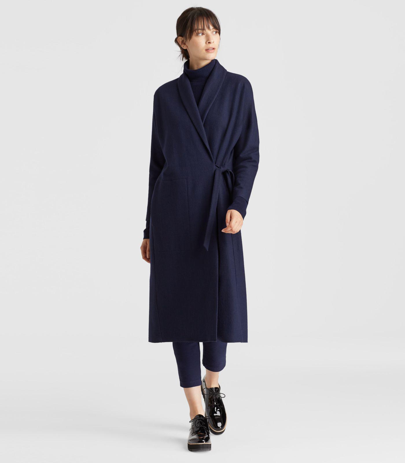ac4c06801ac Lyst - Eileen Fisher Boiled Wool Jersey Kimono Jacket in Blue