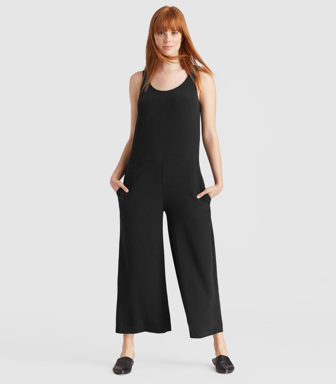 4ba0b3ce8da Lyst - Eileen Fisher Viscose Crepe Jumpsuit in Black