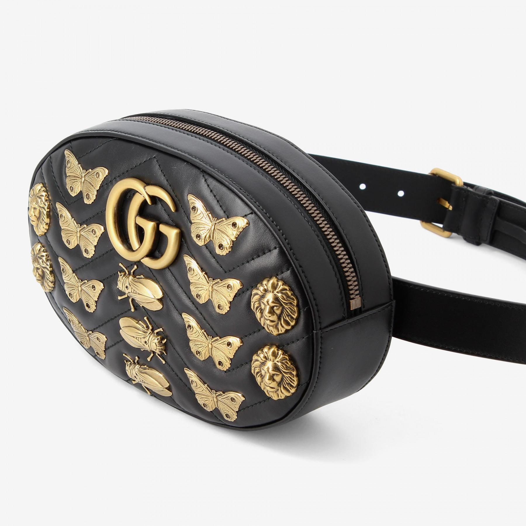 620a3fe45c7 Lyst - Gucci Marmont Animal Studs Leather Belt Bag in Black