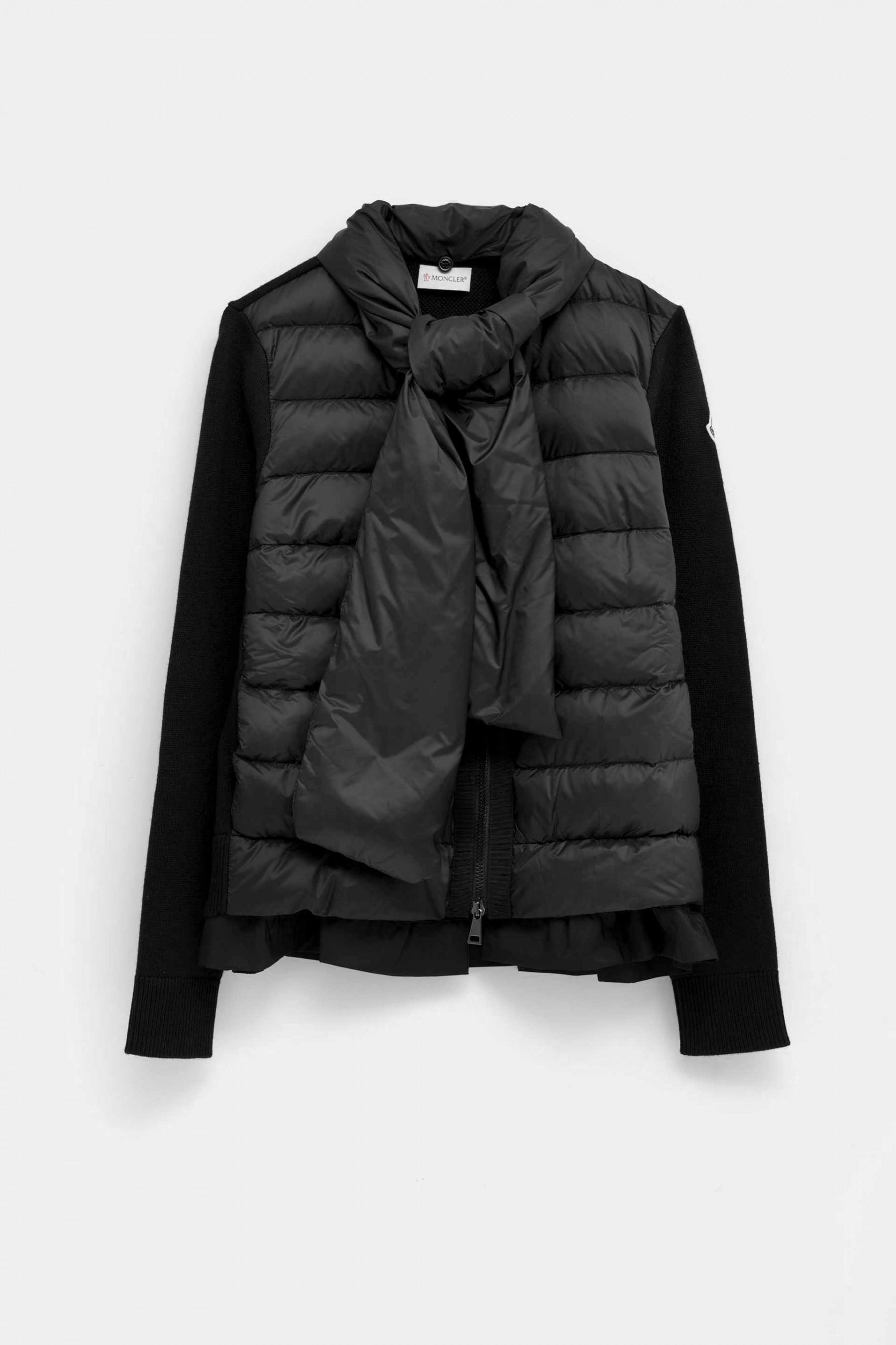 444fa29cb8 Lyst - Moncler Cardigan With Padded Scarf in Black