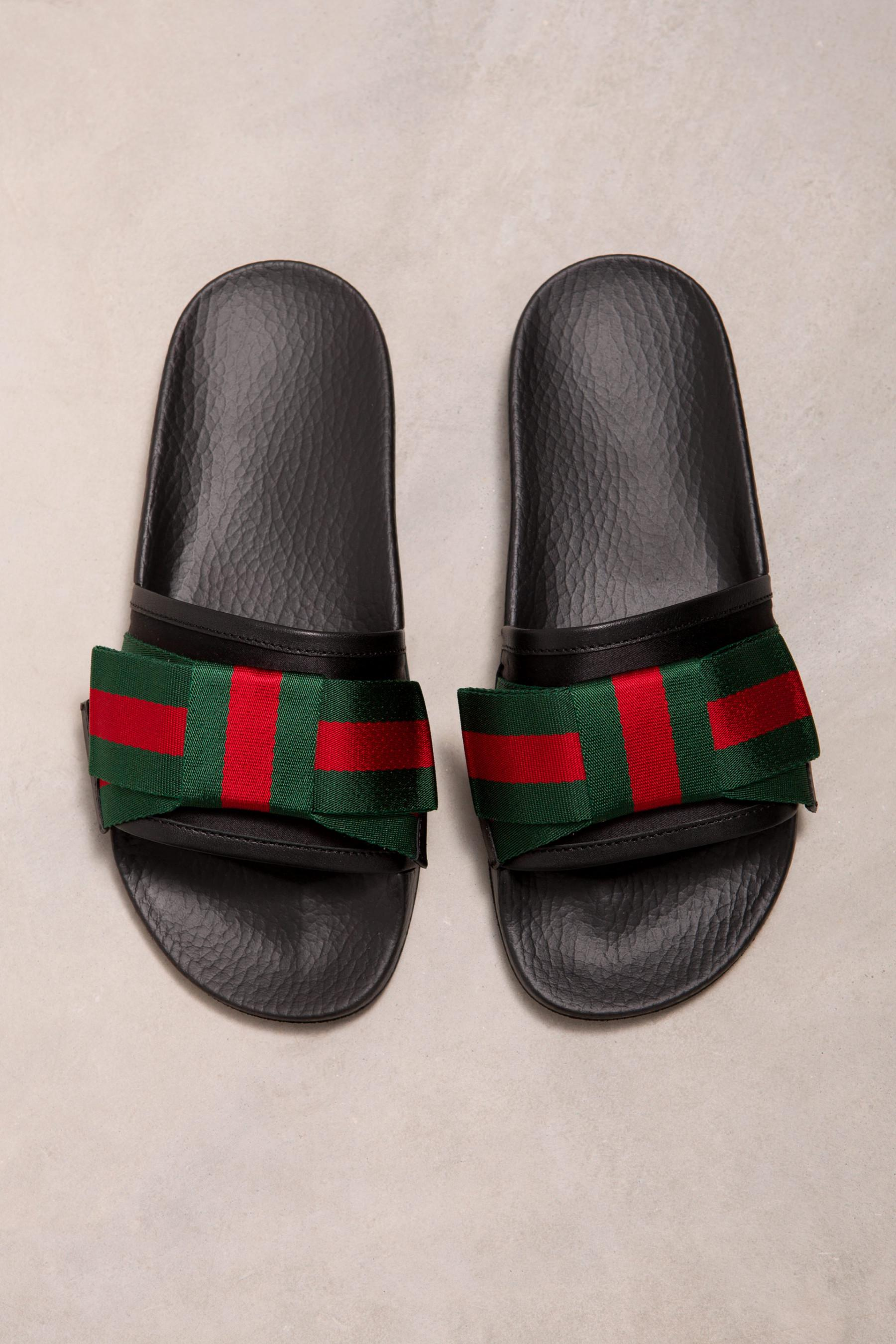 91e53d4d469 Gucci Satin Slide With Web Bow in Black - Lyst