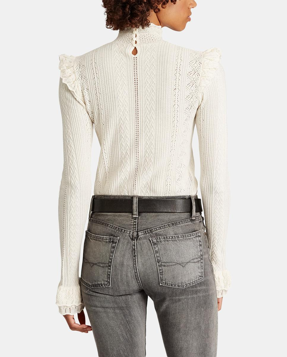 957218ca2d Polo Ralph Lauren Openwork Sweater With Frill in White - Lyst