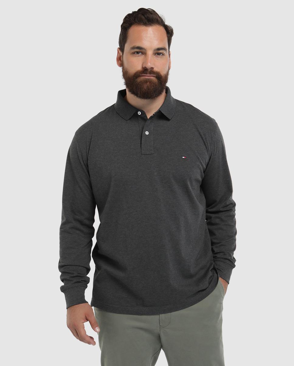 d9d36641 Tommy Hilfiger. Men's Gray Big And Tall Grey Long Sleeve Piqué Polo Shirt