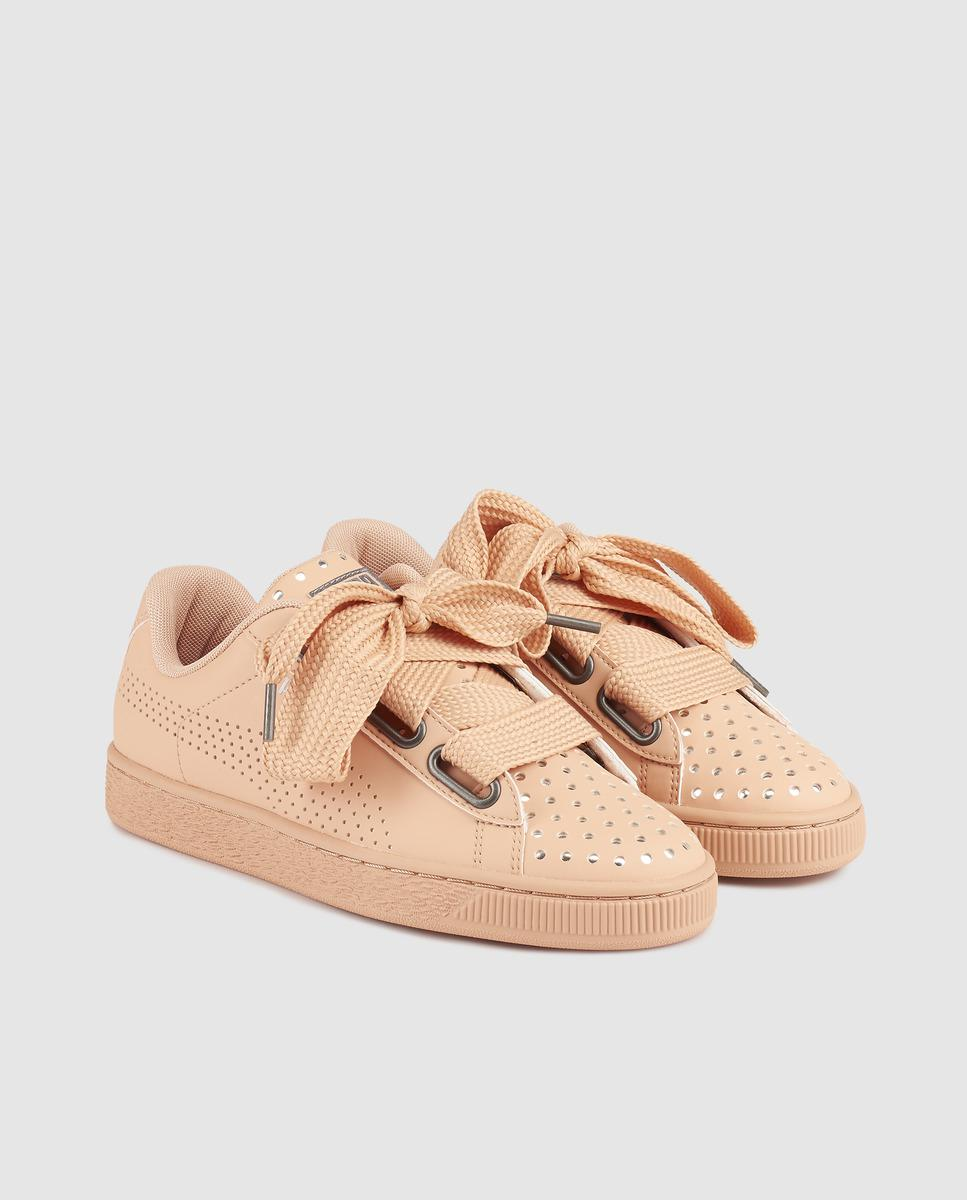 Lyst With Pink Leather Trainers Lux Heart Puma Basket Ath Extra rOw8qra6