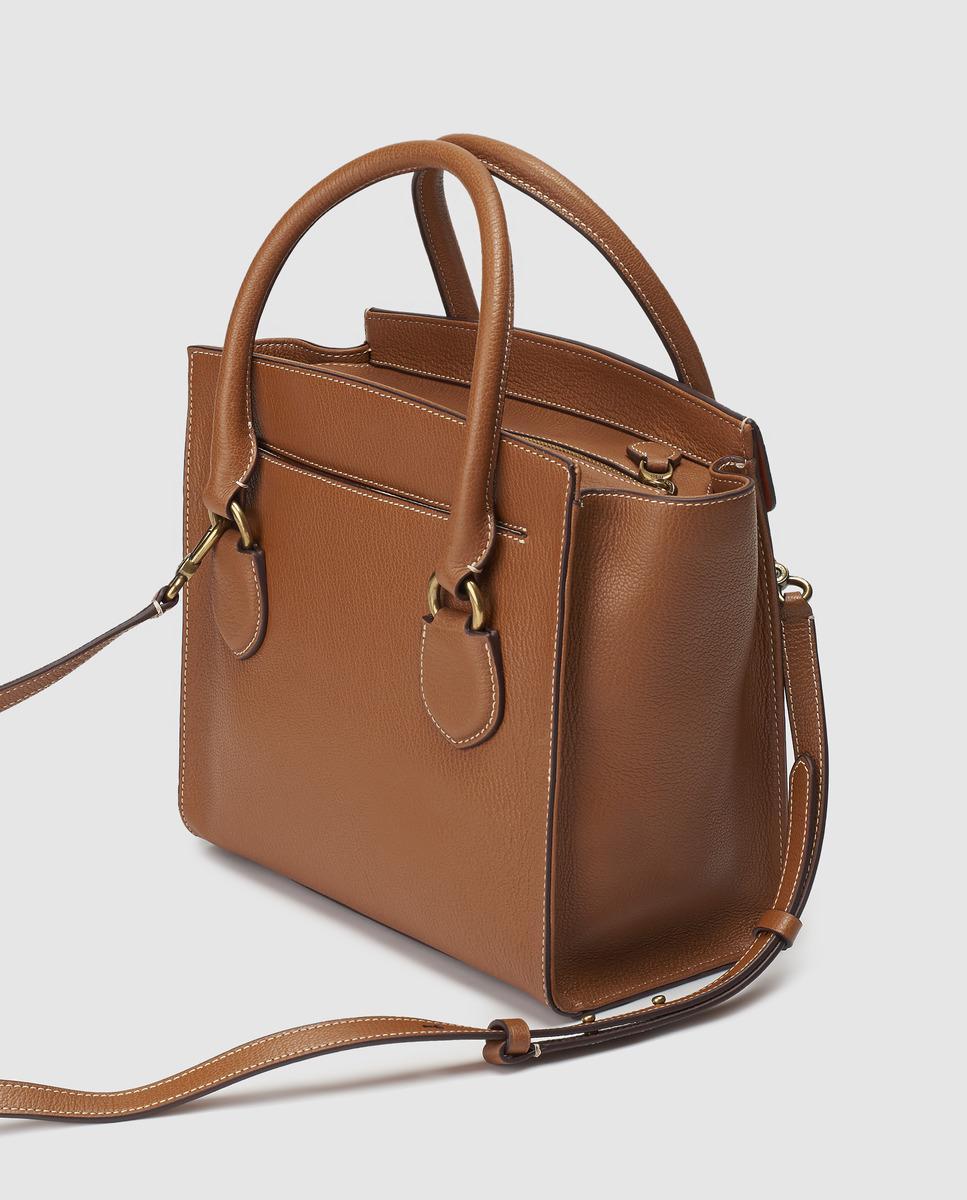 Lauren by Ralph Lauren Brown Cowhide Leather Handbag With Front Flap in  Brown - Lyst 40ef3b00d5408