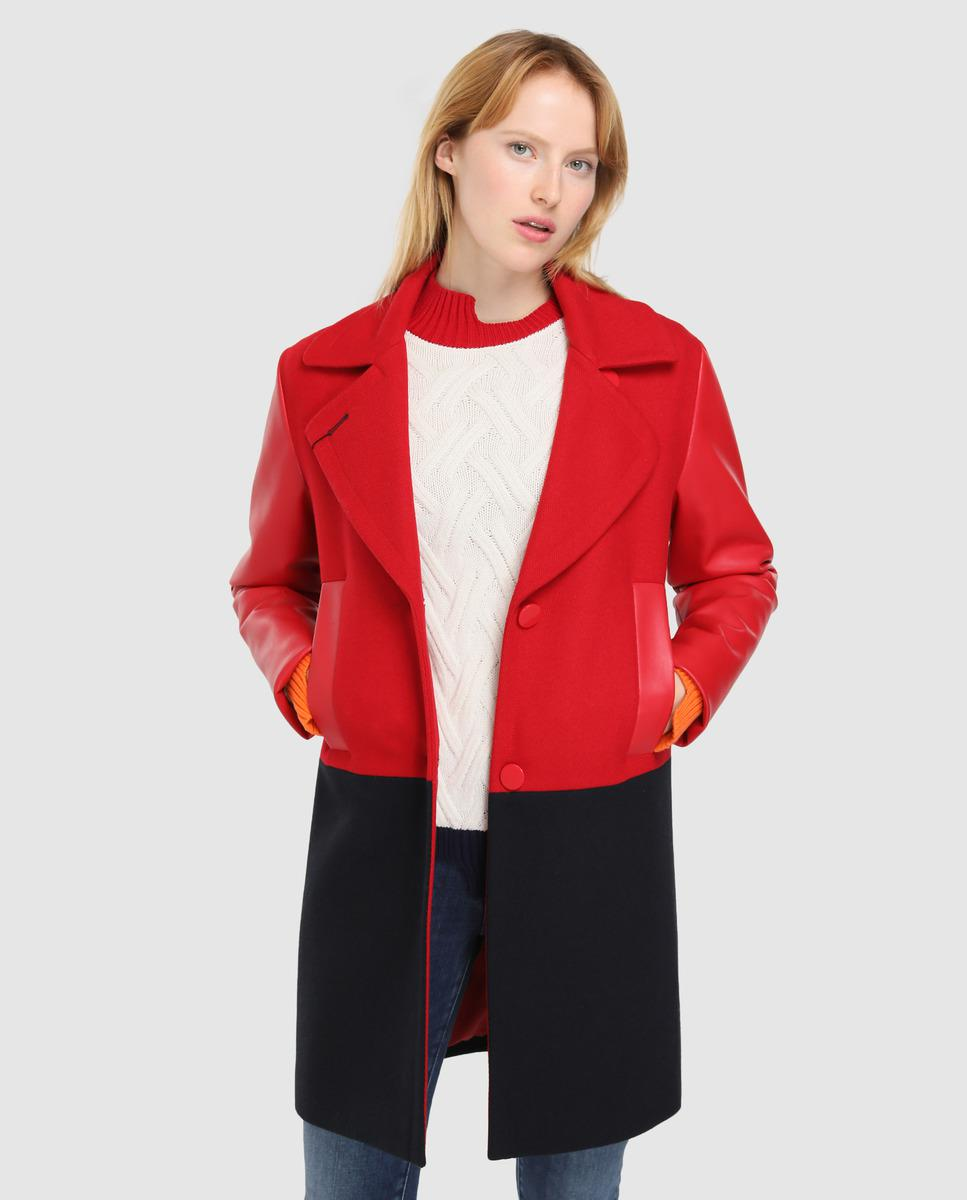 c98ca87bd8c Armani Exchange Two-tone Woollen Cloth Coat With Eco-leather Sleeves ...