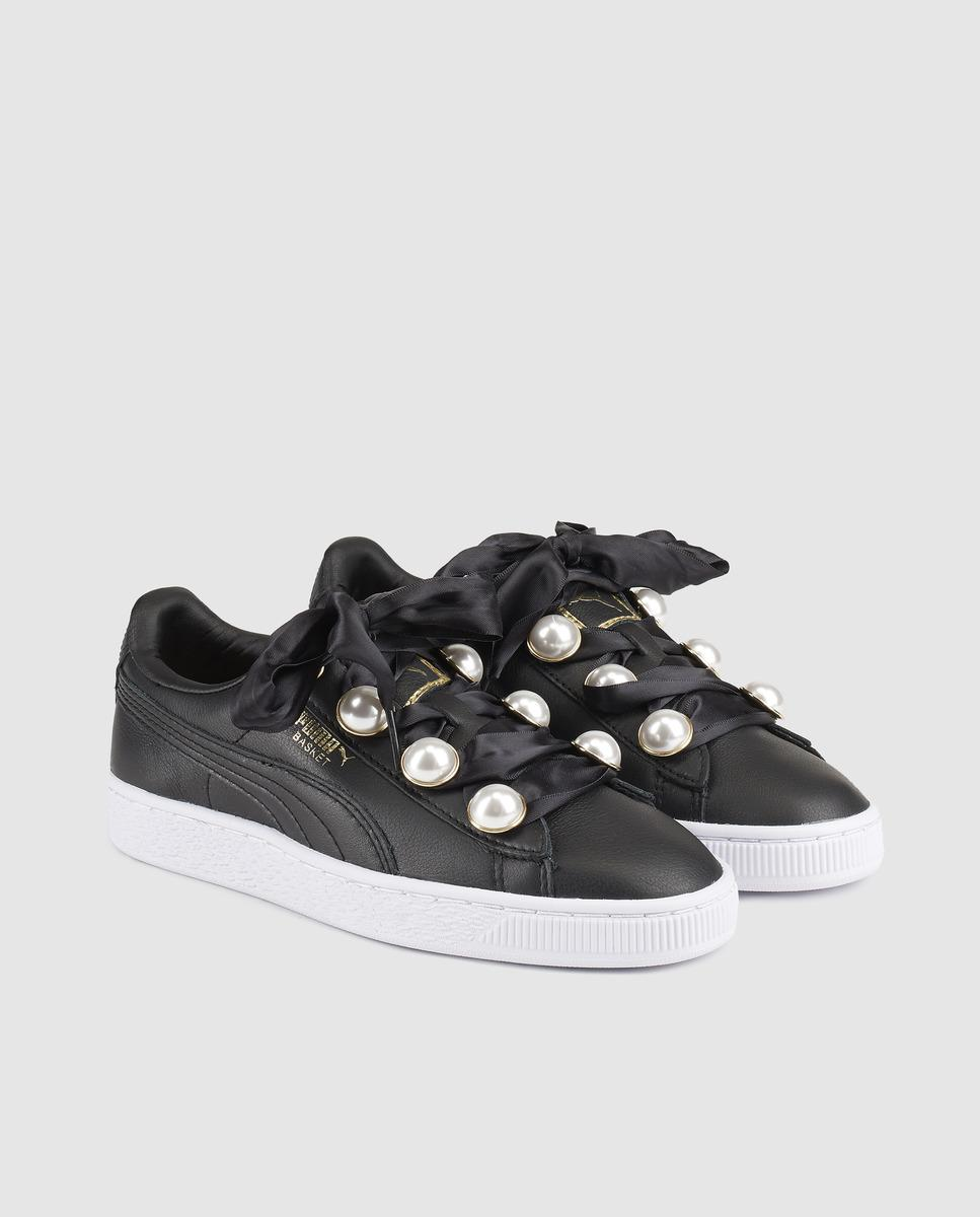 6a465fbccc13 PUMA Basket Bling Black Leather Trainers With Gemstone Decoration in ...