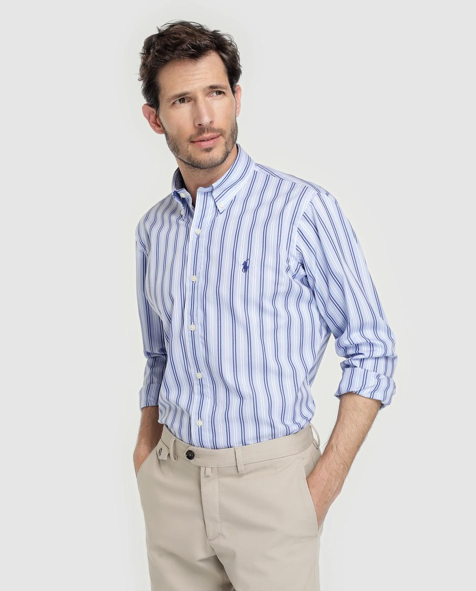 726eb5595b Polo Ralph Lauren Regular-fit Blue Striped Poplin Shirt in Blue for ...