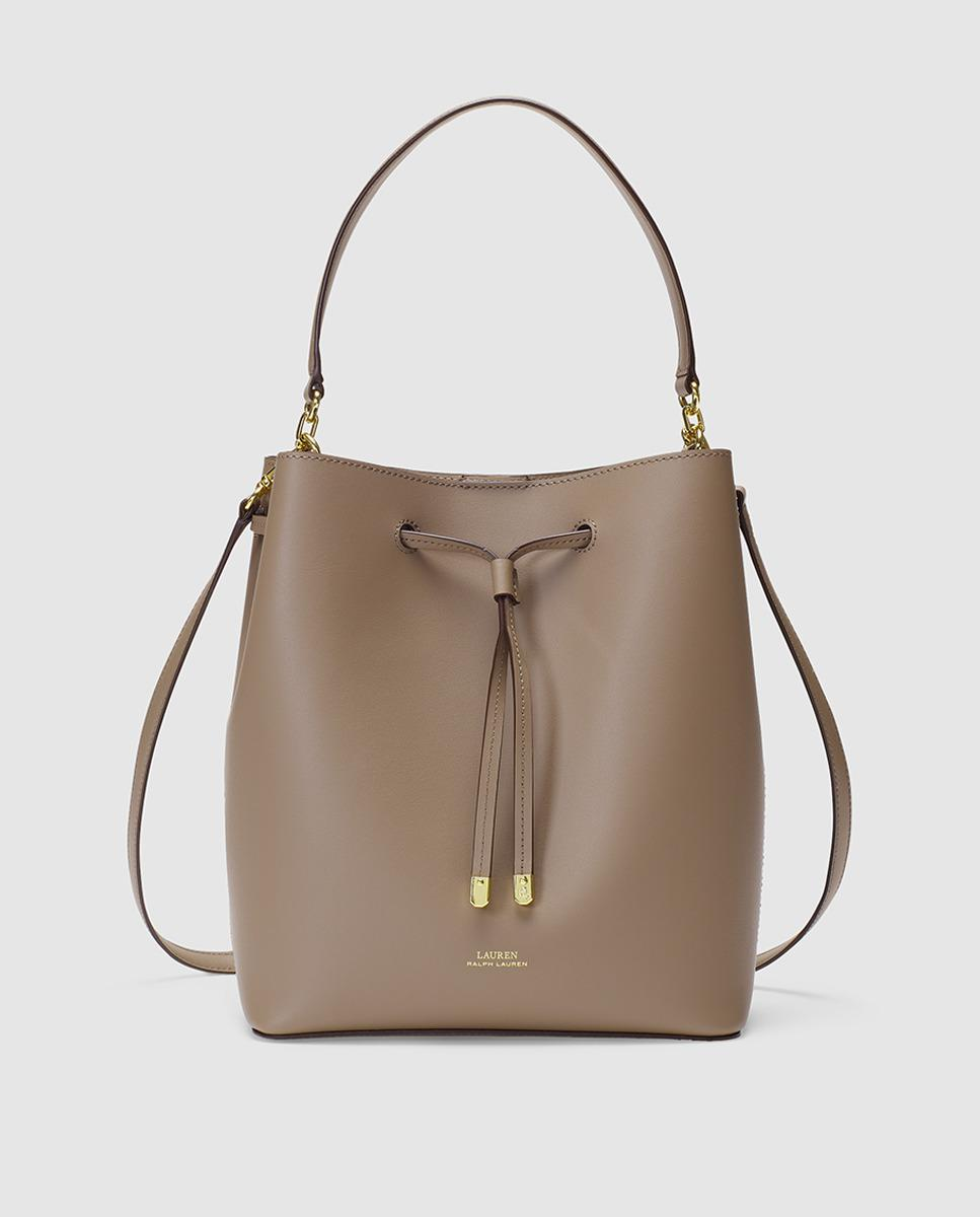 Lauren by Ralph Lauren Taupe Cowhide Leather Bucket Bag With Two ... fbe59f13a5