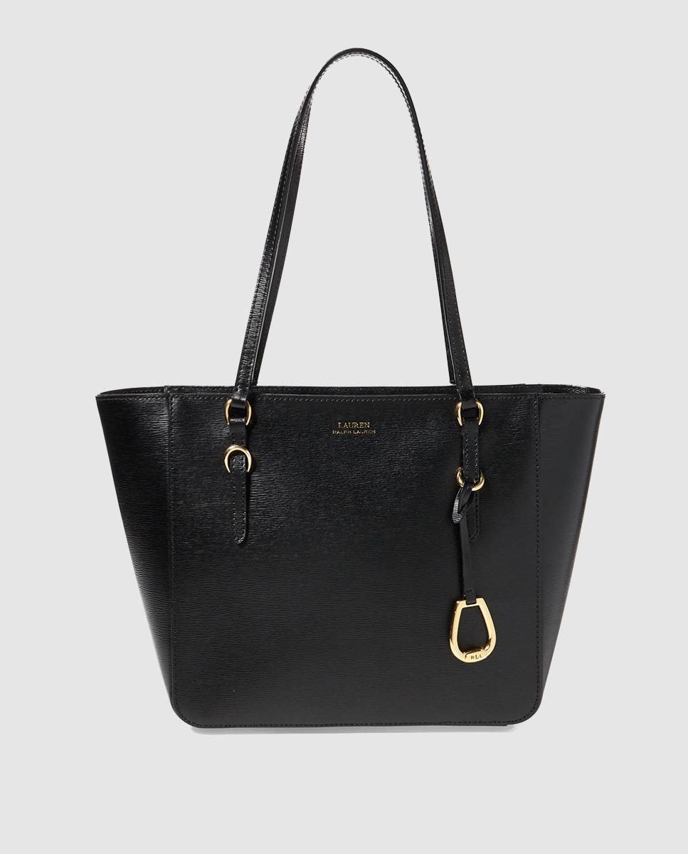 ee1ad61e66e Lauren By Ralph Lauren Black Saffiano Leather Shopper Bag With Zip ...