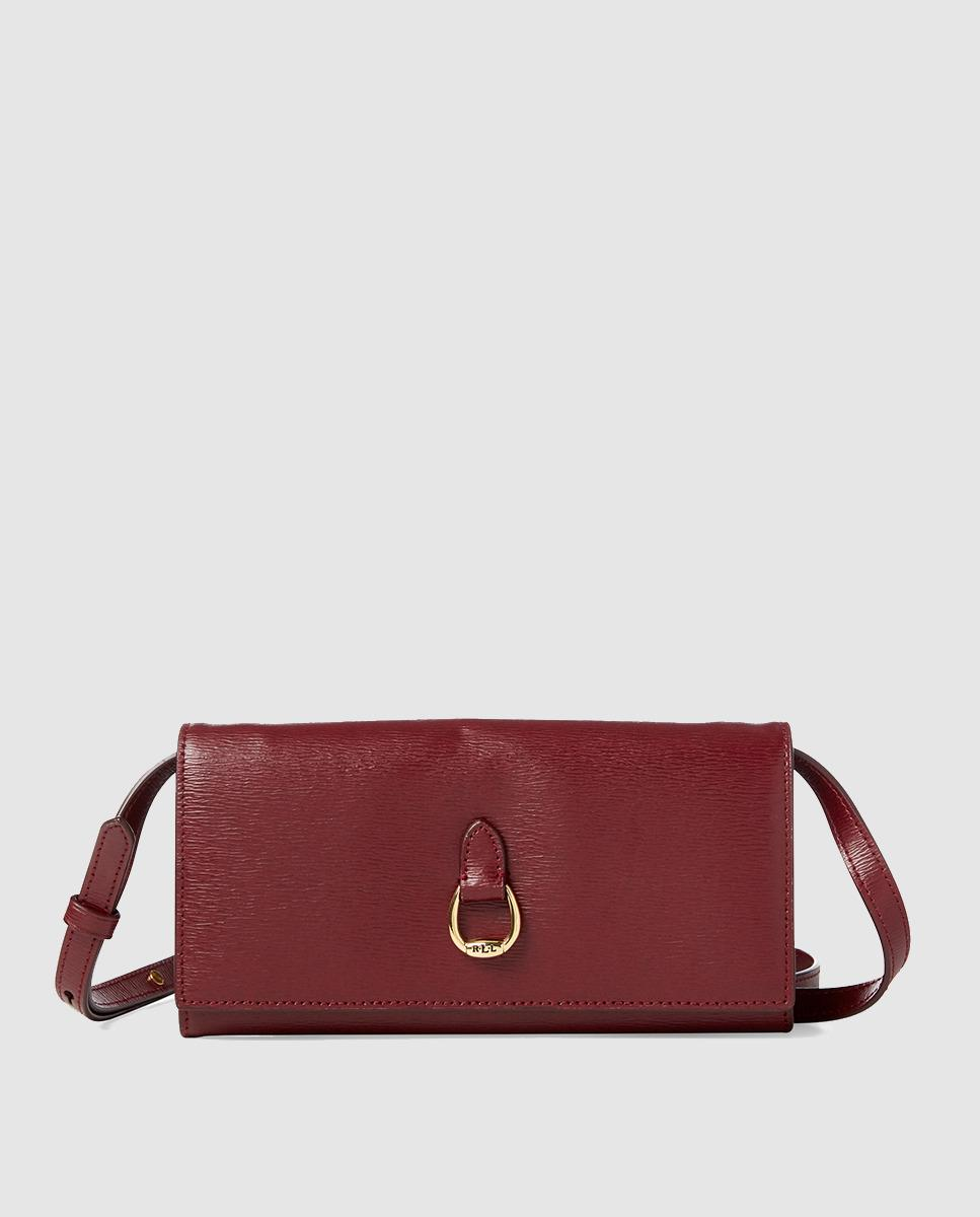 0edf82c078 Lyst - Lauren By Ralph Lauren Burgundy Leather Mini Crossbody Bag