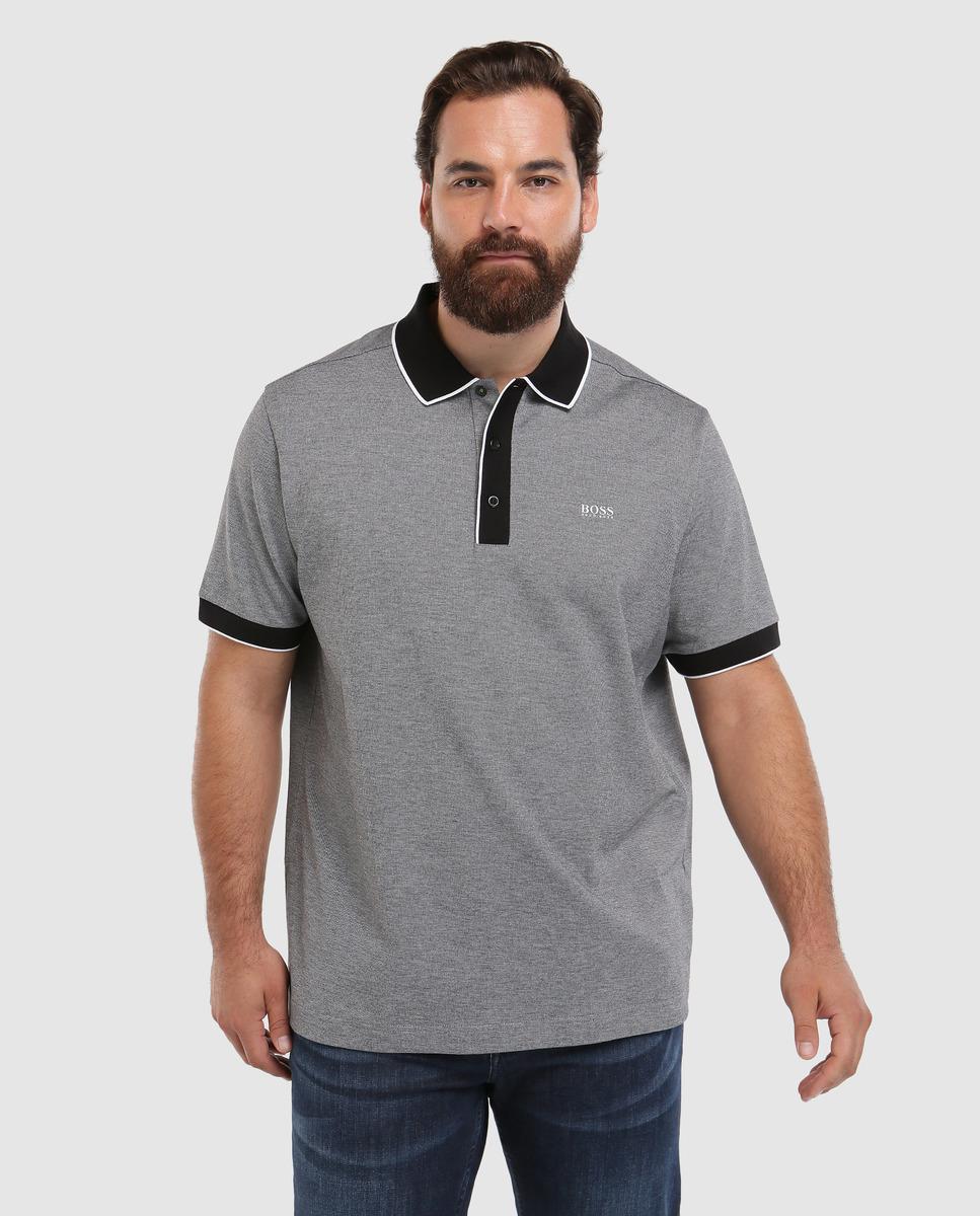 81eb44bec BOSS - Gray Big And Tall Grey Short Sleeve Piqué Polo Shirt for Men - Lyst.  View fullscreen