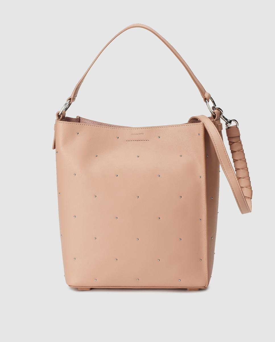 7efb69059a0 AllSaints - Natural Nude Leather Tote Bag With Metallic Studs - Lyst. View  fullscreen