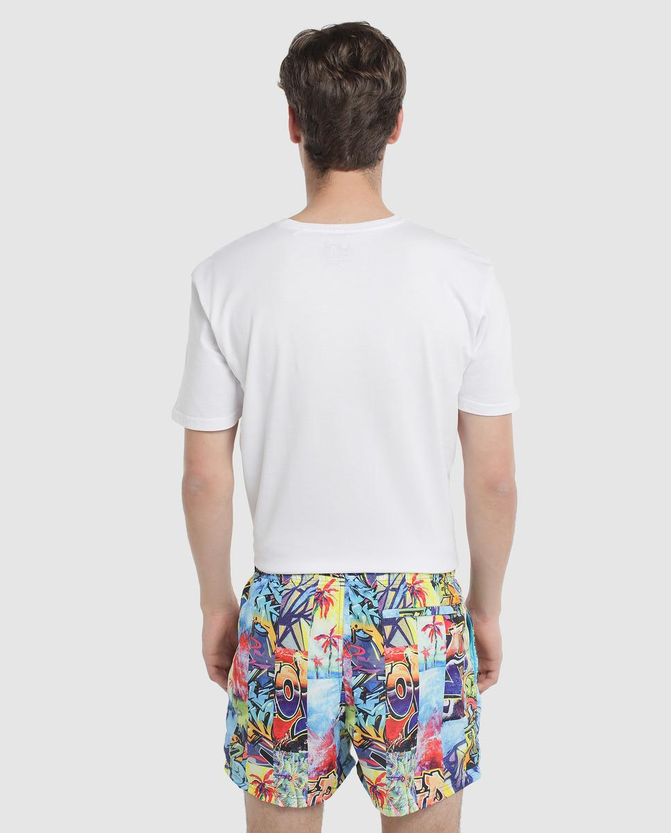 02774684b9 Green Coast Multicoloured Printed Swim Trunks in White for Men - Lyst
