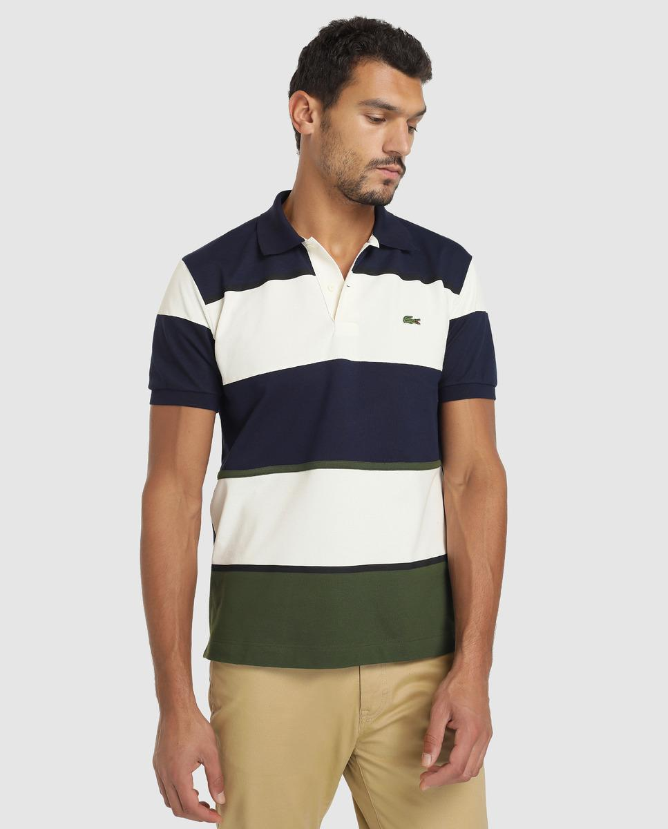 35bb081d3 Lacoste. Men s Blue Classic-fit Multicoloured Short Sleeve Piqué Polo Shirt