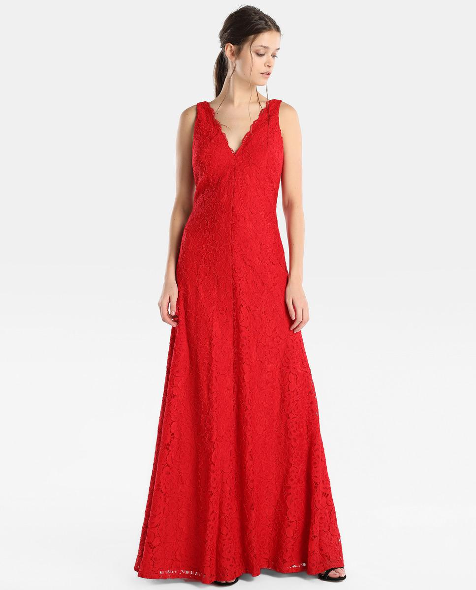 Lyst - Vera Wang Red Lace Evening Dress in Red