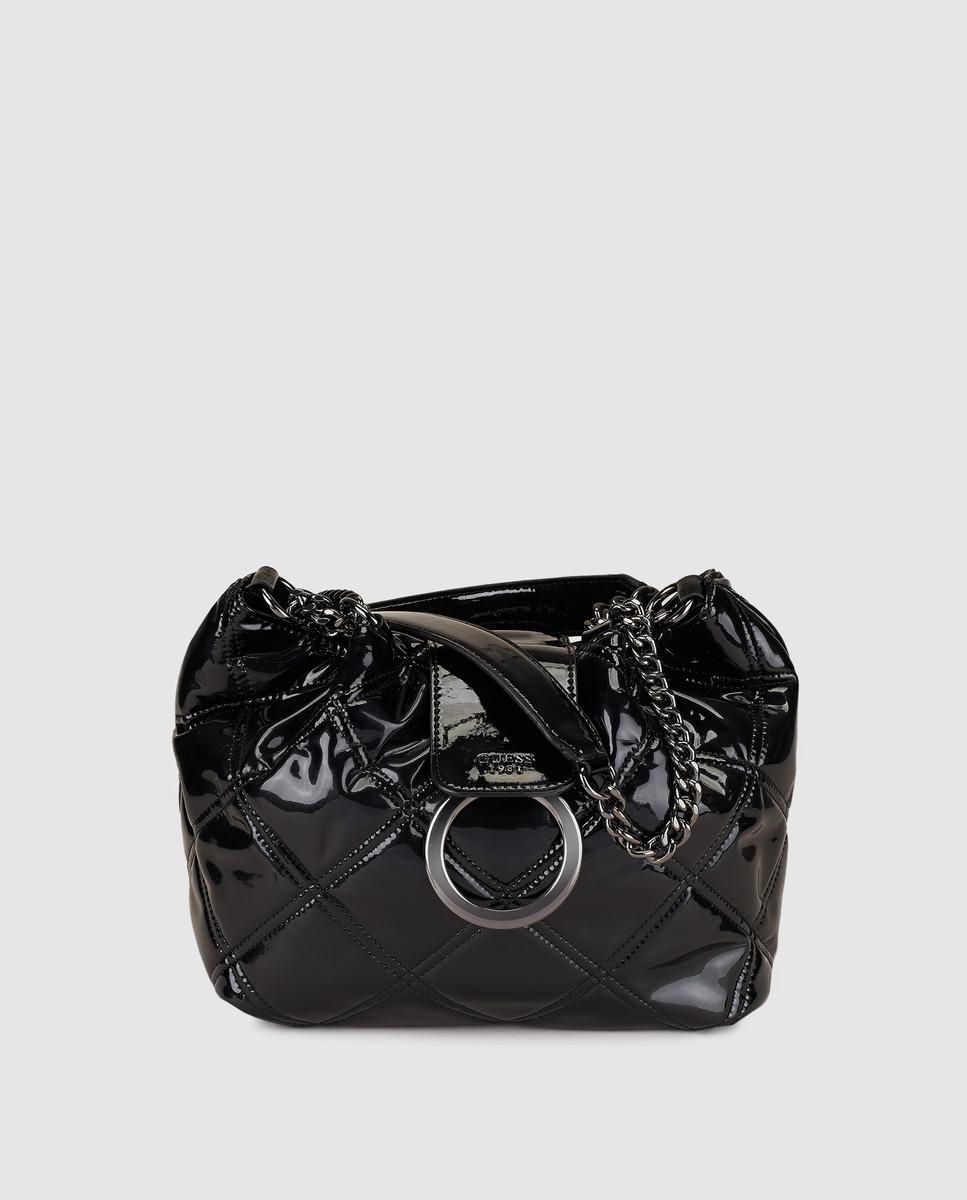 Guess Women S Black Handbag With Patent Leather Finish