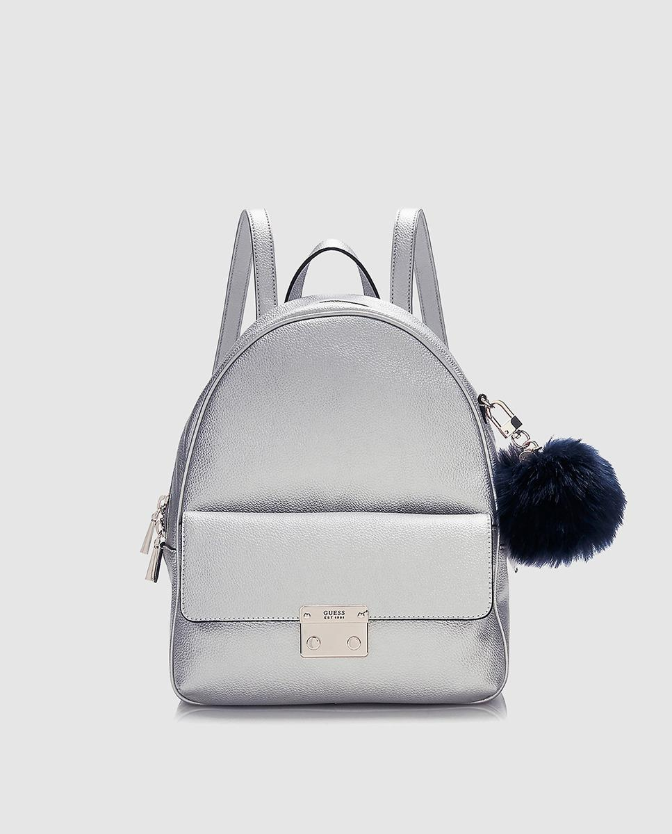 80c398737882 Lyst - Guess Wo Grained Silver Backpack With Pompom in Metallic
