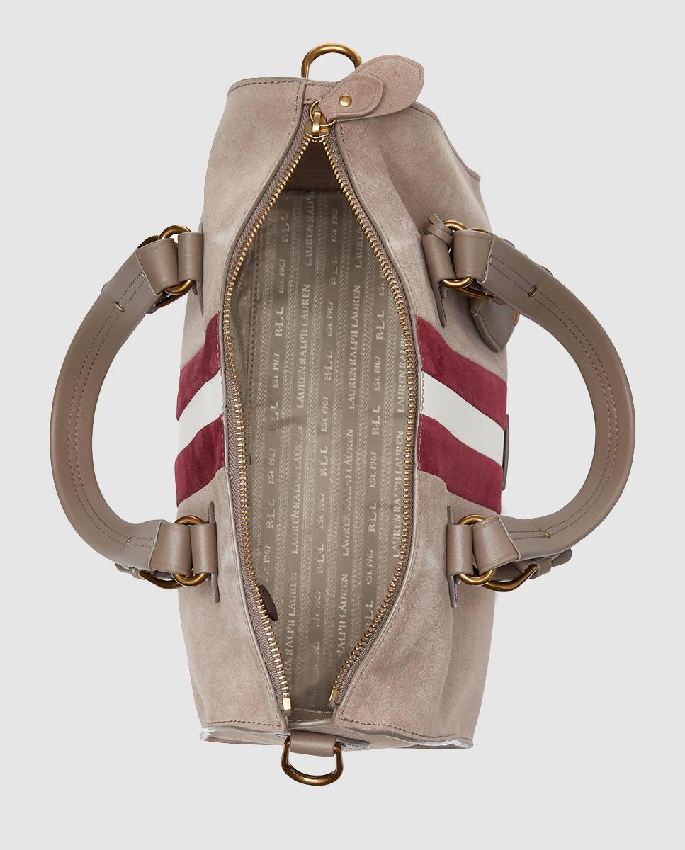 ... Lauren by Ralph Lauren - Multicolor Taupe Suede Bowling Bag With  Contrasting Stripes - Lyst. 5c26041da183c