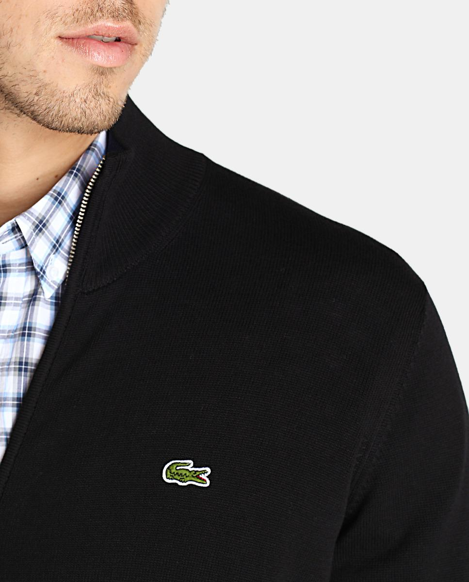 a72ea37fdd0093 Lyst - Lacoste Black Cardigan With Zip in Black for Men