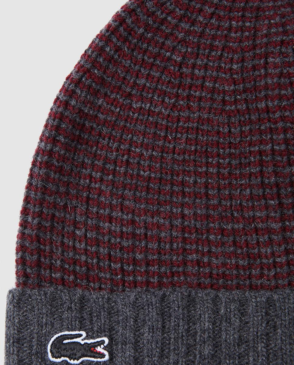 a0c037a631a Lyst - Lacoste Maroon And Grey Knitted Hat And Scarf Set for Men