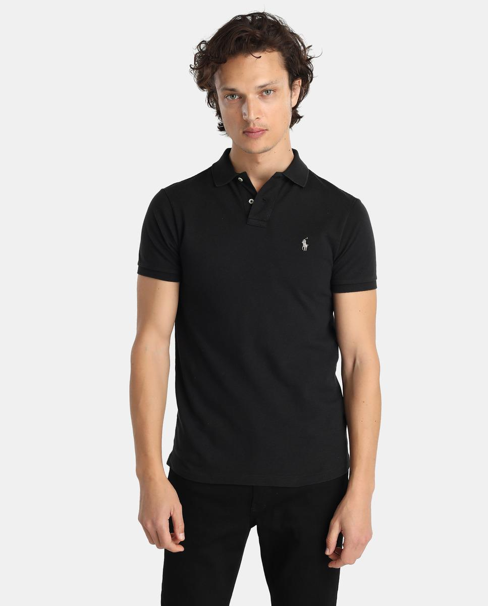 Lyst polo ralph lauren black short sleeved slim fit for Black fitted polo shirt