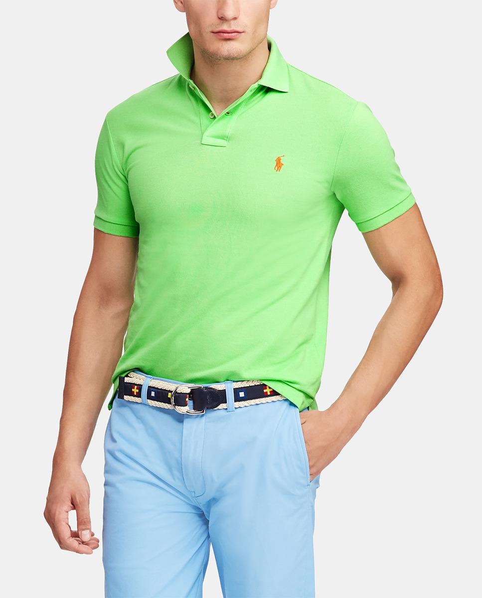 206da8ceae20 Polo Ralph Lauren Green Short Sleeve Slim Piqué Polo Shirt in Green ...