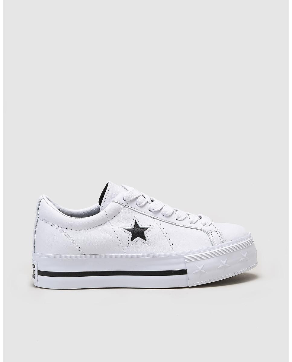 cf08c2c5b64 Lyst - Converse One Star White Leather Platform Trainers in White
