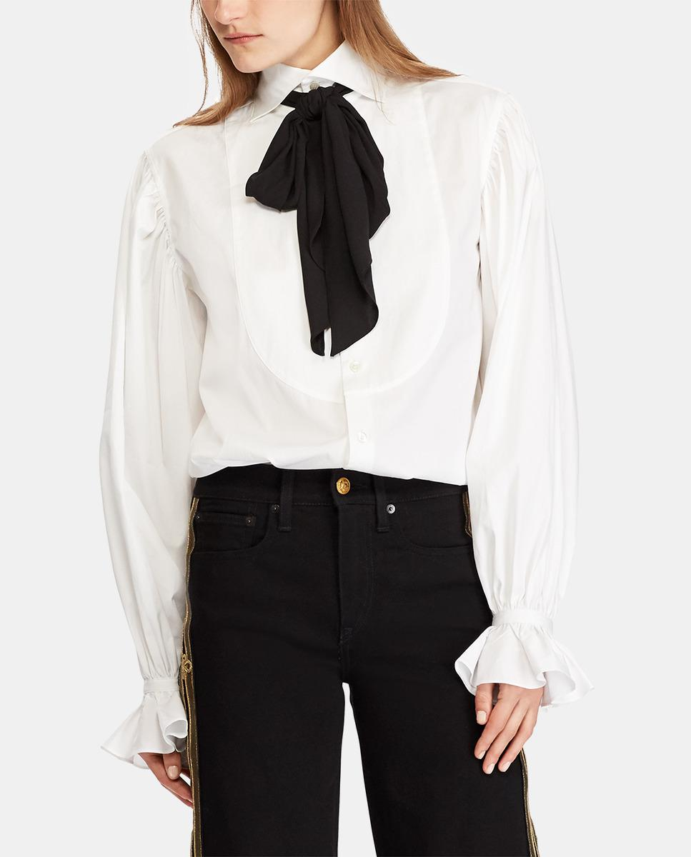 d10a71fa1663 Lyst - Polo Ralph Lauren White Blouse With A Bow On The Collar in ...