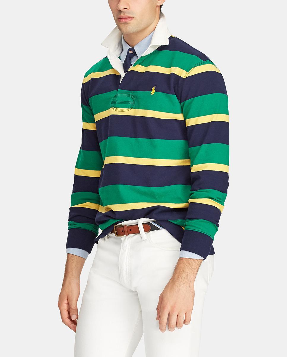 17a21e52 Polo Ralph Lauren Mens Striped Long Sleeve Polo Shirt in Green for ...