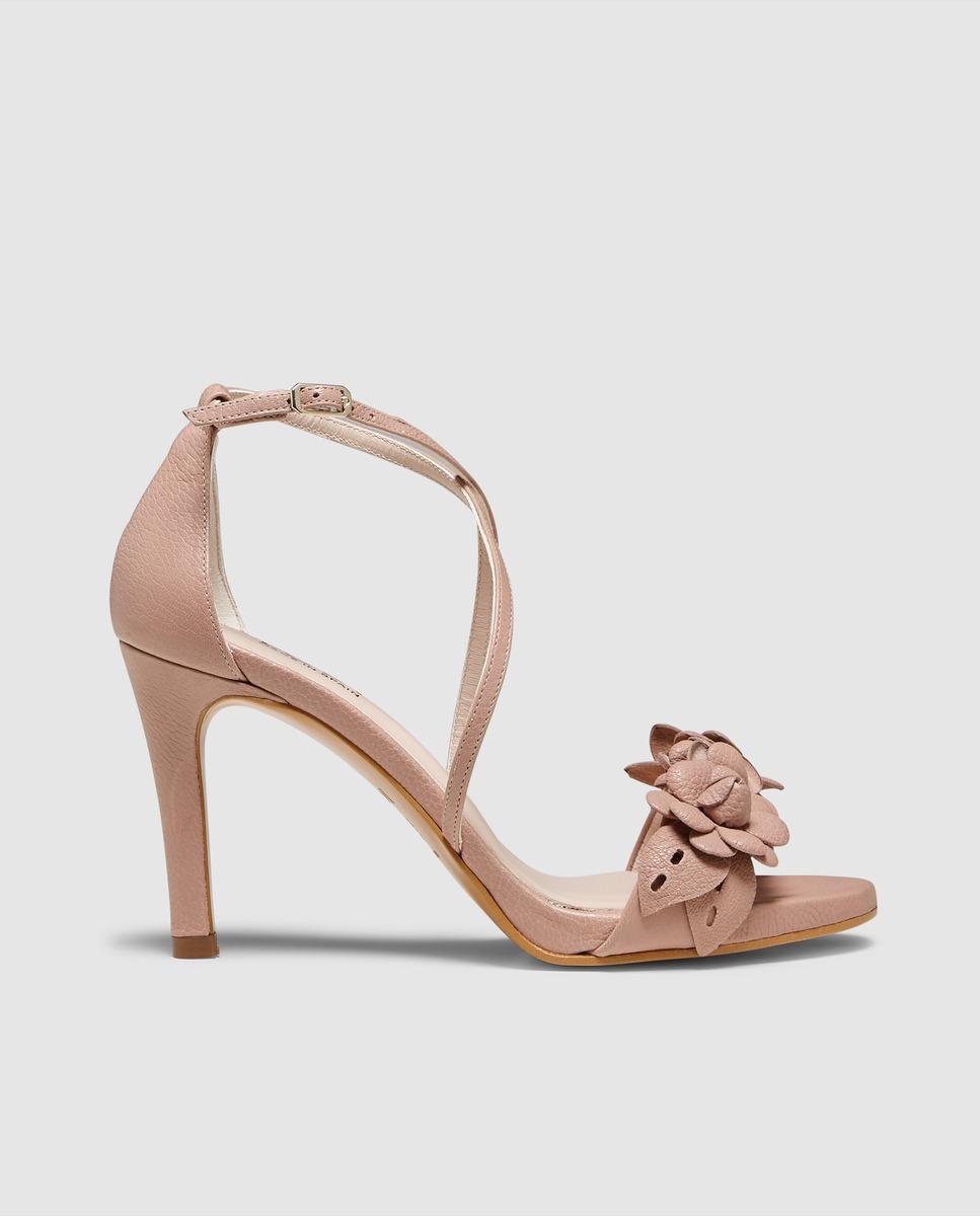 Lyst Lodi Pink Leather High Heel Sandals With Flowers In Pink