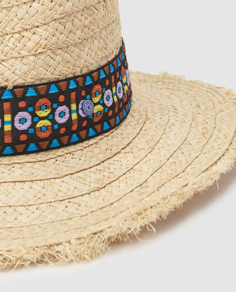 Lyst - Jo   Mr. Joe Natural-coloured Wide-brimmed Sun Hat With A  Contrasting Band in Natural 6f1847da2ae5
