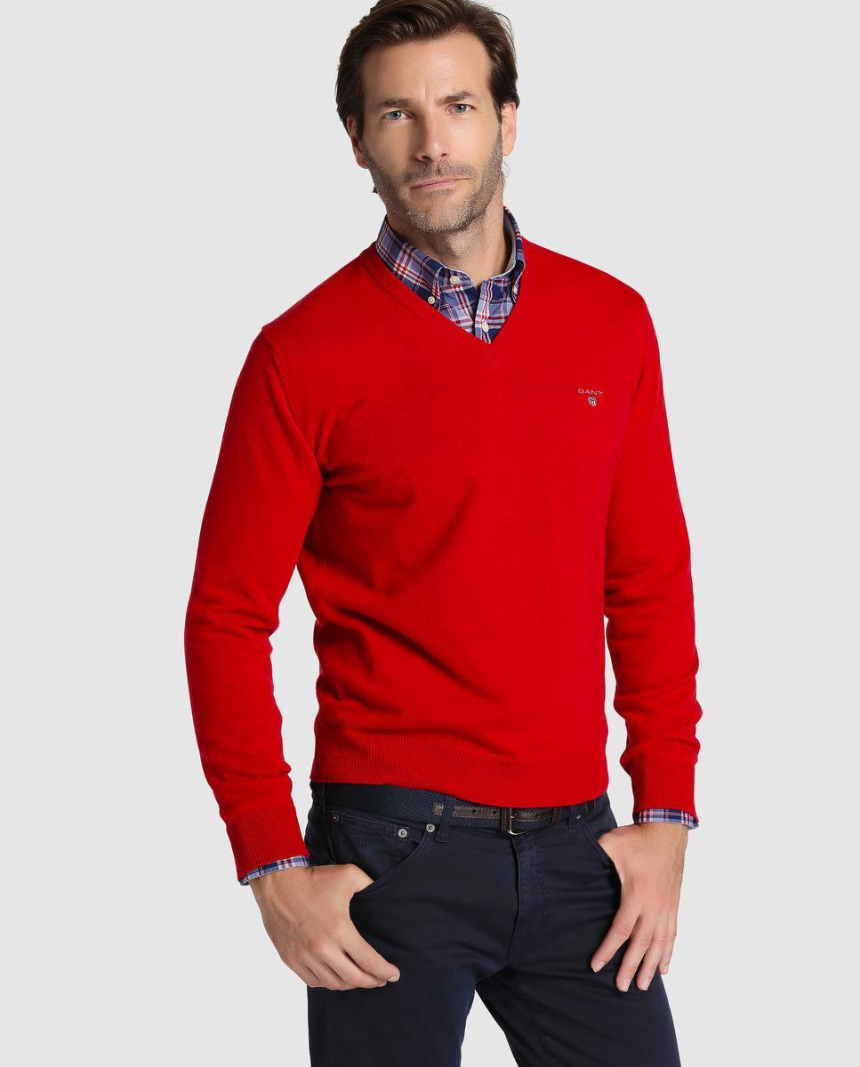 Gant Red V-neck Sweater in Red for Men | Lyst