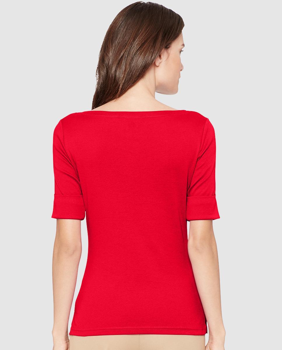 Lauren By Ralph Lauren Short Sleeved Red T Shirt In Red Lyst