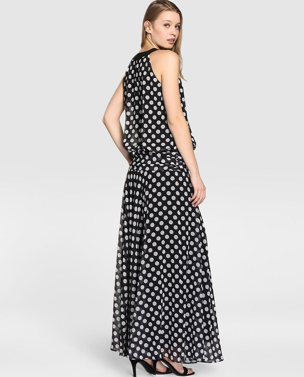 Lyst Yera Long Polka Dot Print Dress In Black