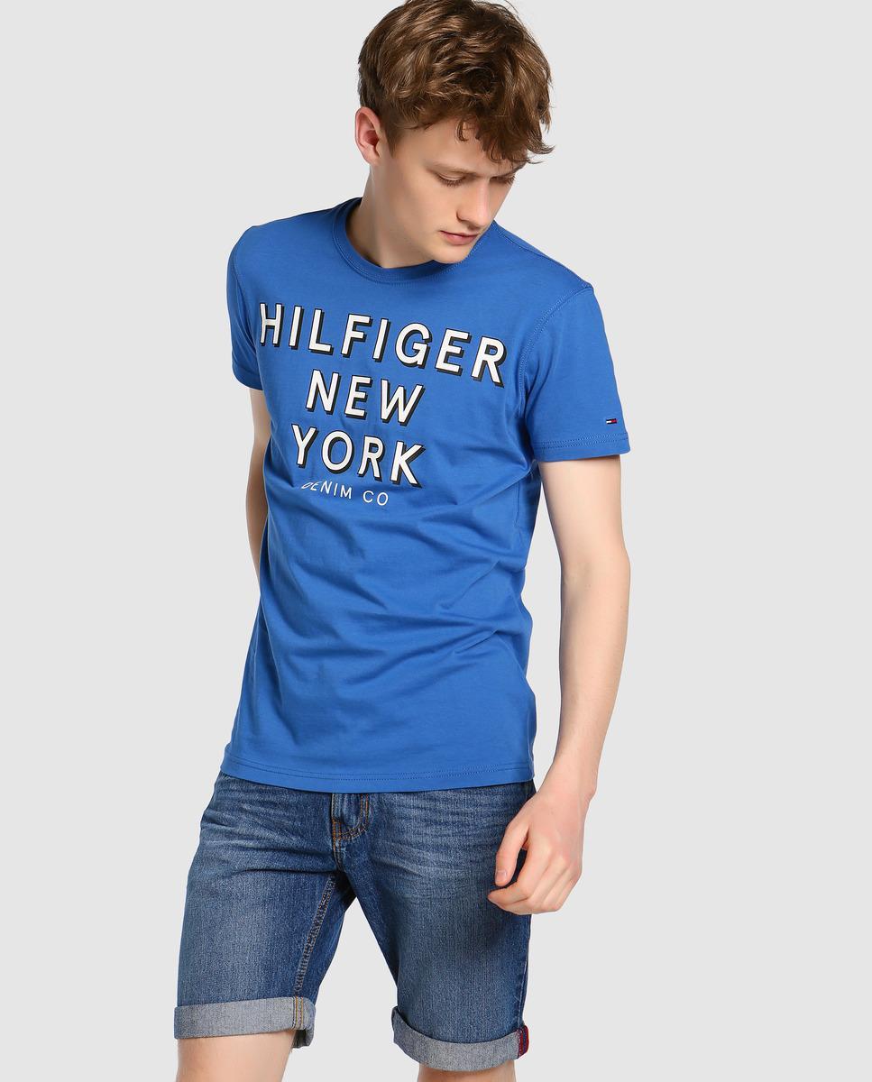 hilfiger denim blue short sleeve t shirt in blue for men. Black Bedroom Furniture Sets. Home Design Ideas