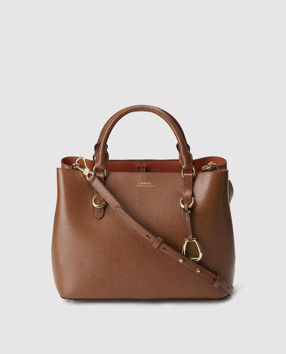 c1e86793edcd Lyst - Lauren by Ralph Lauren Brown Saffiano Leather Handbag With ...