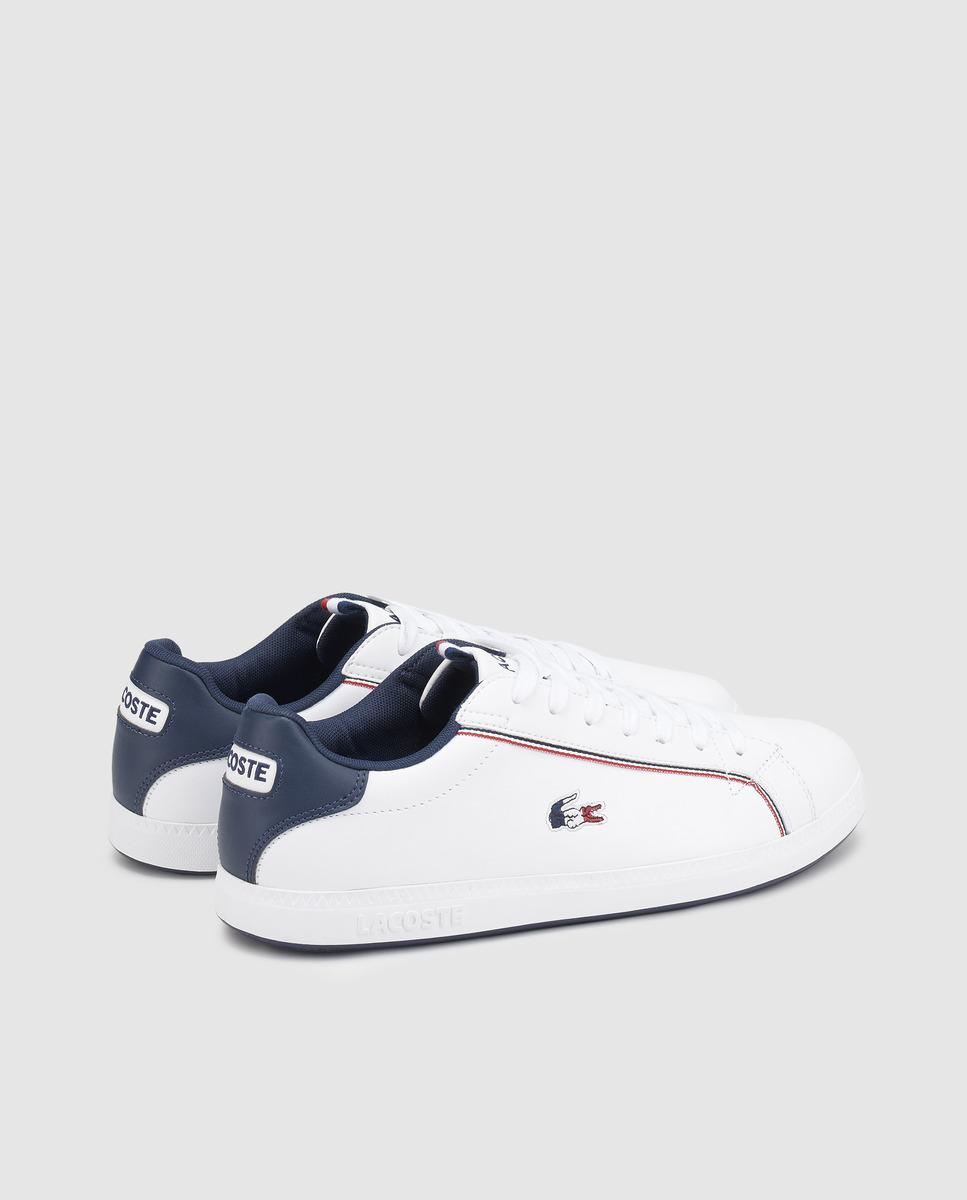 6367f66185e Lyst - Lacoste White Leather Lace-up Trainers in White for Men