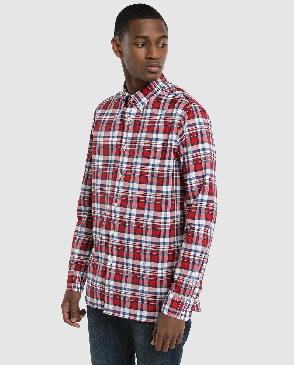 4bf96e9388b Lyst - Tommy Hilfiger Slim-fit Red Checked Poplin Shirt in Red for Men