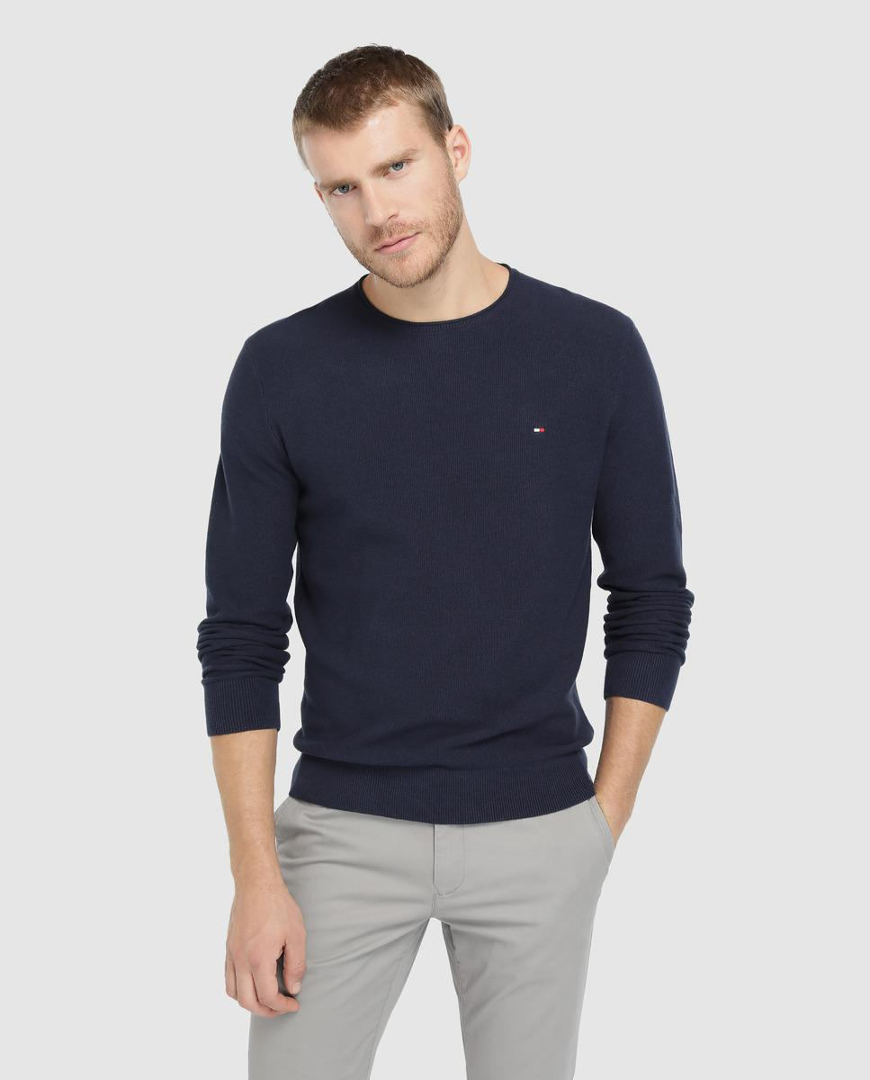 1ce721682 Tommy Hilfiger Blue Round-neck Sweater in Blue for Men - Lyst