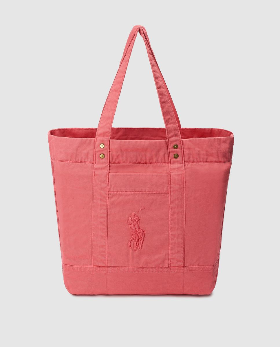 b962642f3f Polo Ralph Lauren Coral Cotton Tote Bag With Embossed Logo in Pink ...