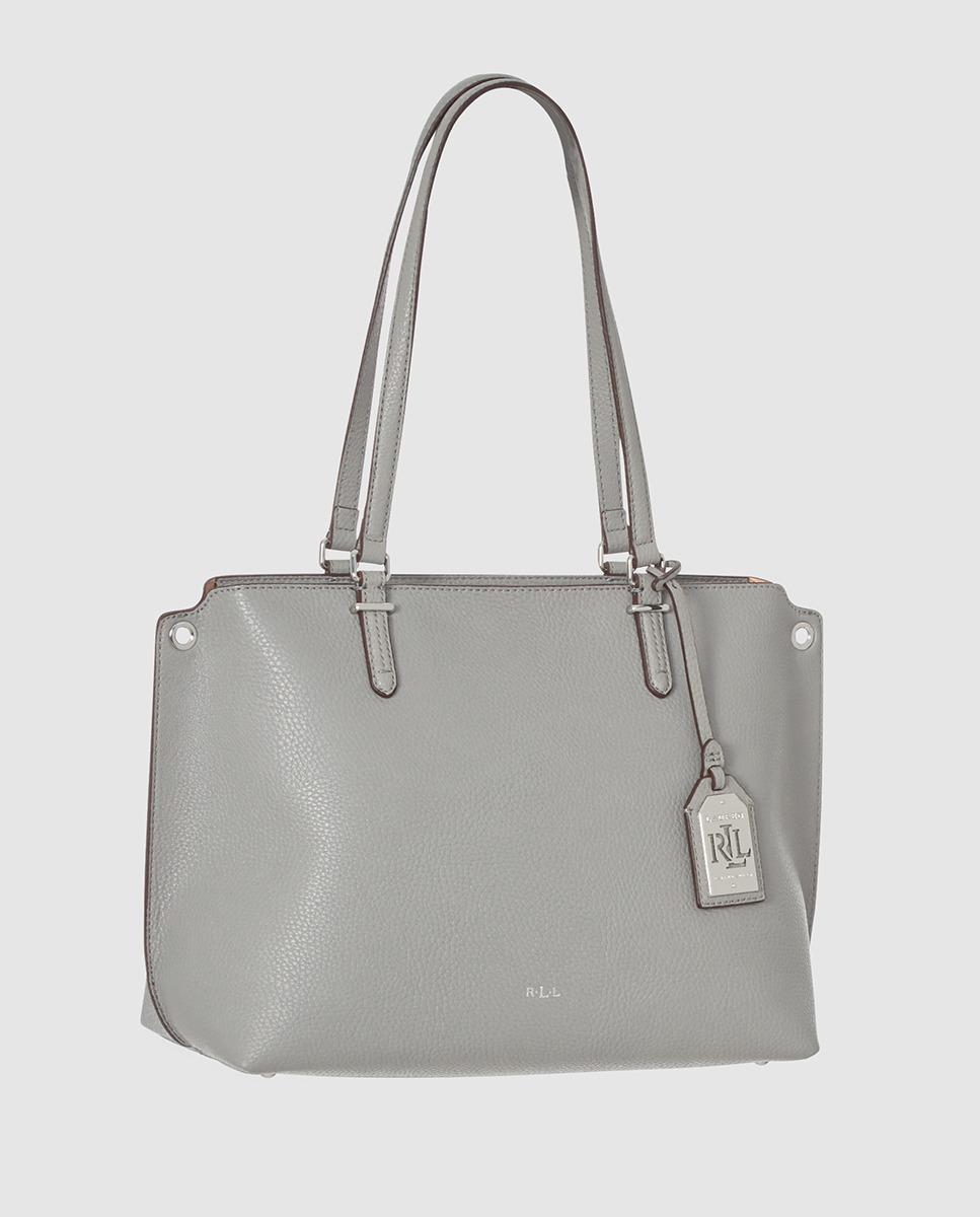 6d2265682009 Lauren By Ralph Lauren Light Grey Shopper Bag With Metallic Pendant ...
