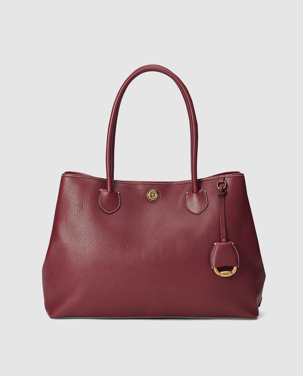 Lauren by Ralph Lauren. Women s Burgundy Leather Tote Bag With Metallic Feet 0e9436c31f